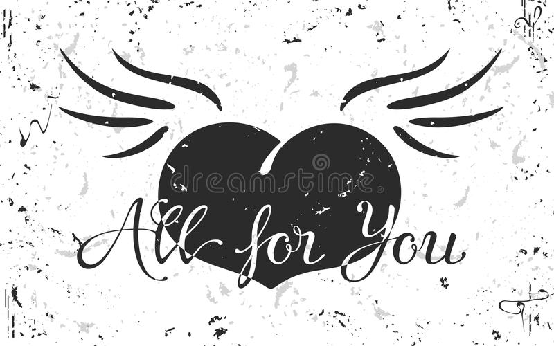Vintage grunge black Heart with wings royalty free stock photography
