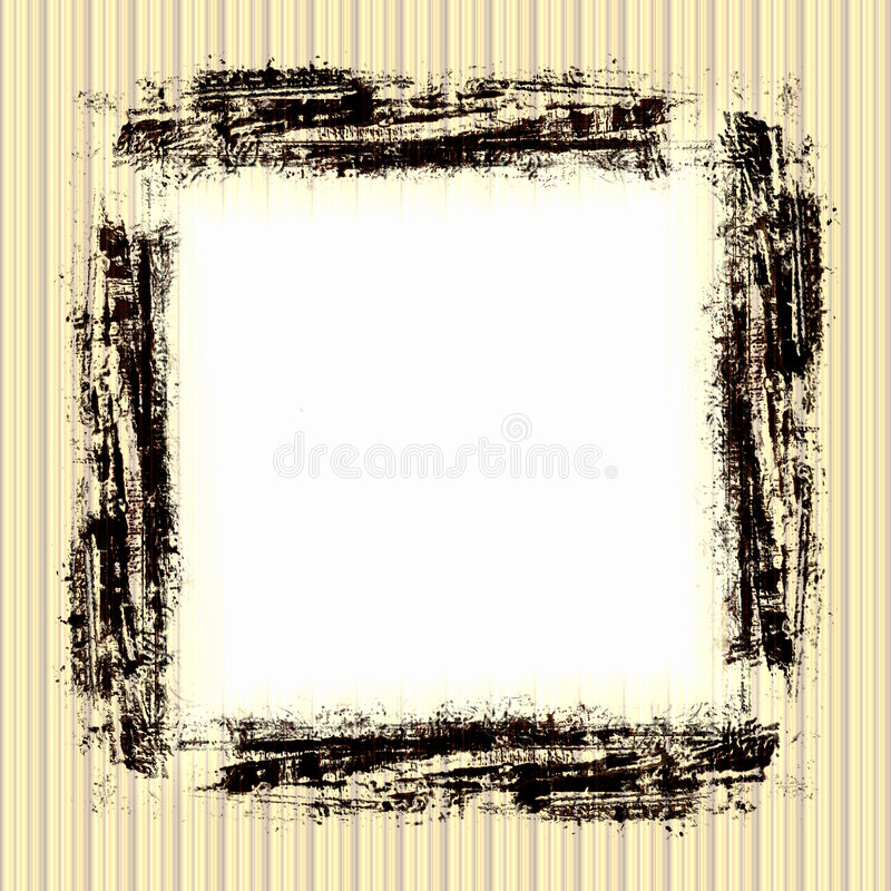 Vintage Grunge Frame. In brown with white copyspace on a striped yellow, tan, and brown wallpaper background royalty free illustration