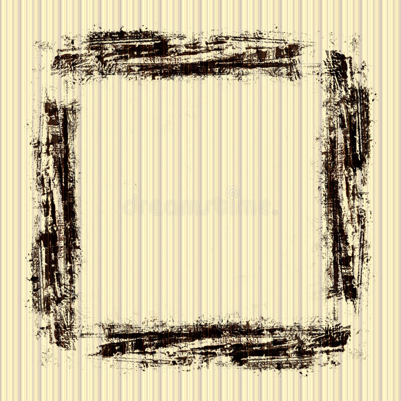 Vintage Grunge Frame. In brown strokes with on a striped yellow beige wallpaper background stock illustration