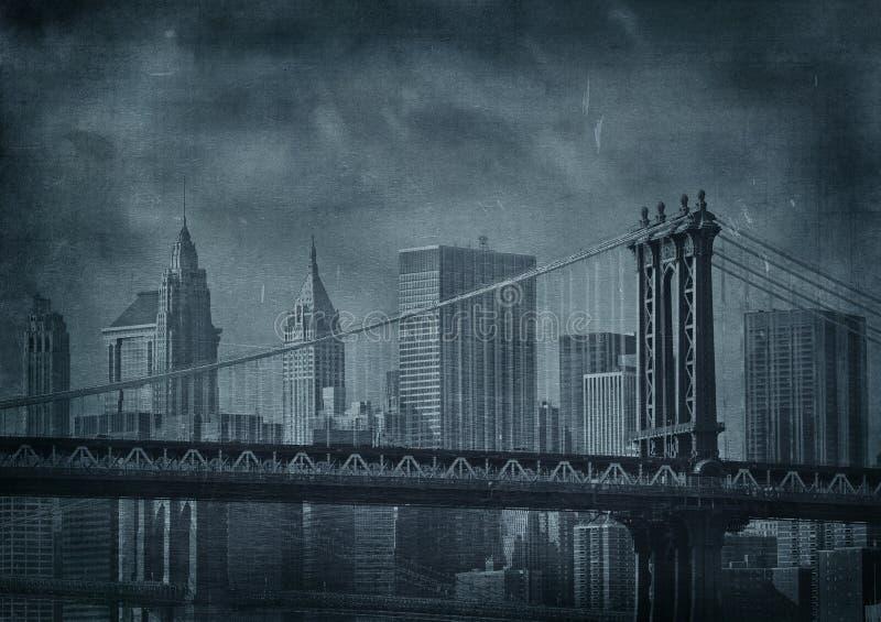 Vintage grunge image of new york city stock illustration