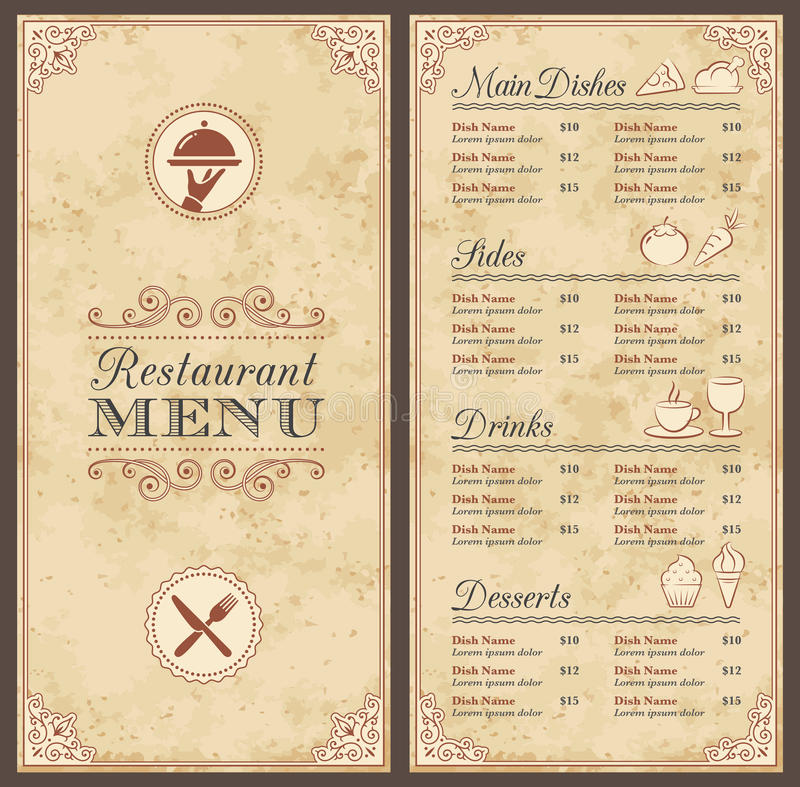 Vintage Grunge Menu Template stock illustration