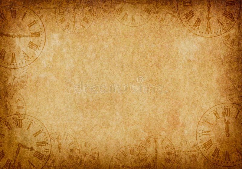 Vintage Grunge Parchment Background Clock Faces royalty free illustration