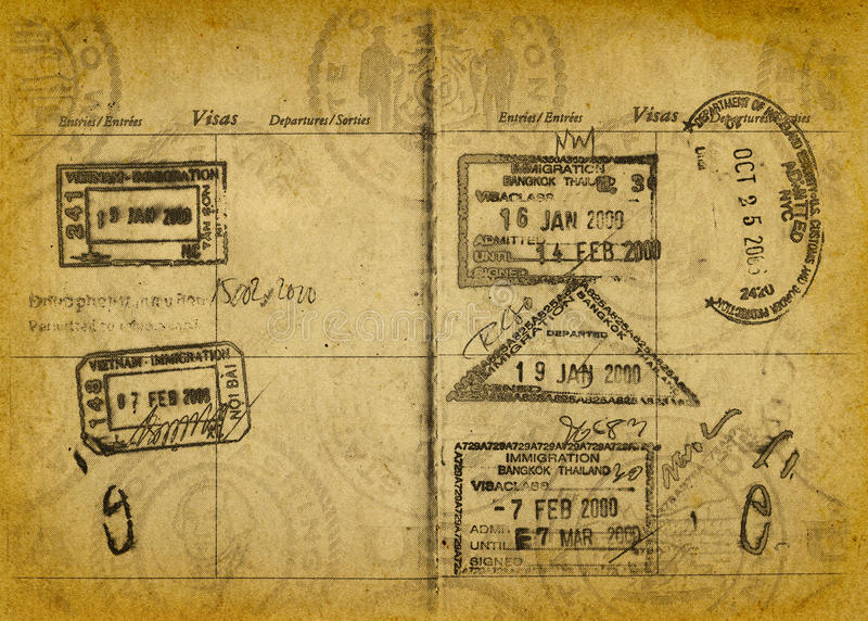 Vintage Grunge Passport Stamps stock image