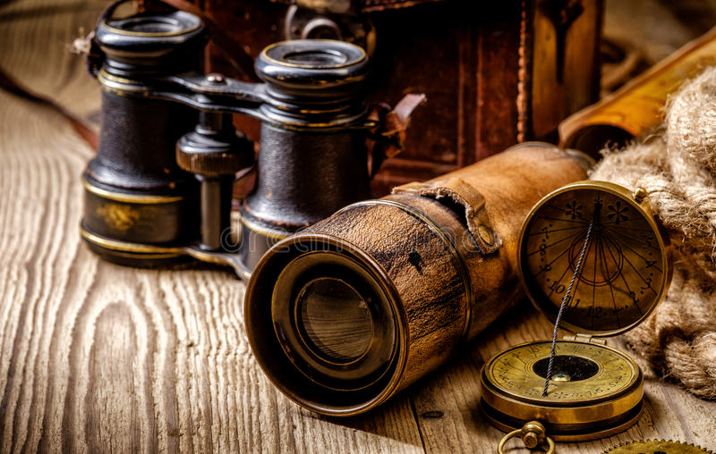 Vintage grunge still life. Antique items on wooden table stock photos