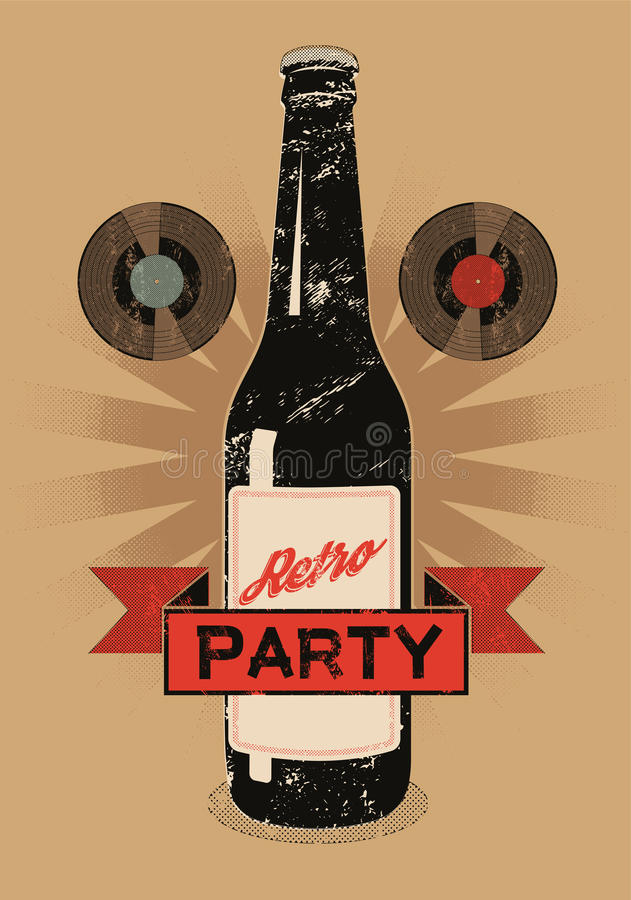 Vintage grunge style poster for retro party with a beer bottle. Vector illustration. royalty free illustration