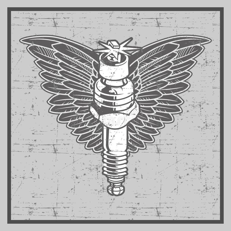 Vintage grunge style spark plug with wing-vector stock illustration