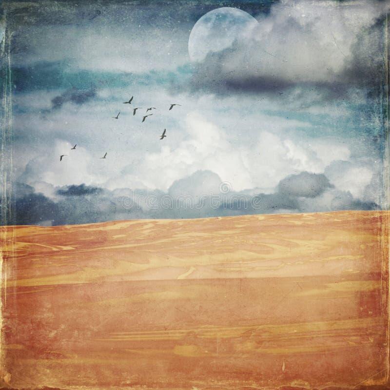 Vintage grunge textured deserted sand dune landscape. Vintage grunge textured deserted sand dune landscape with half moon and flock of birds. Digital photo vector illustration