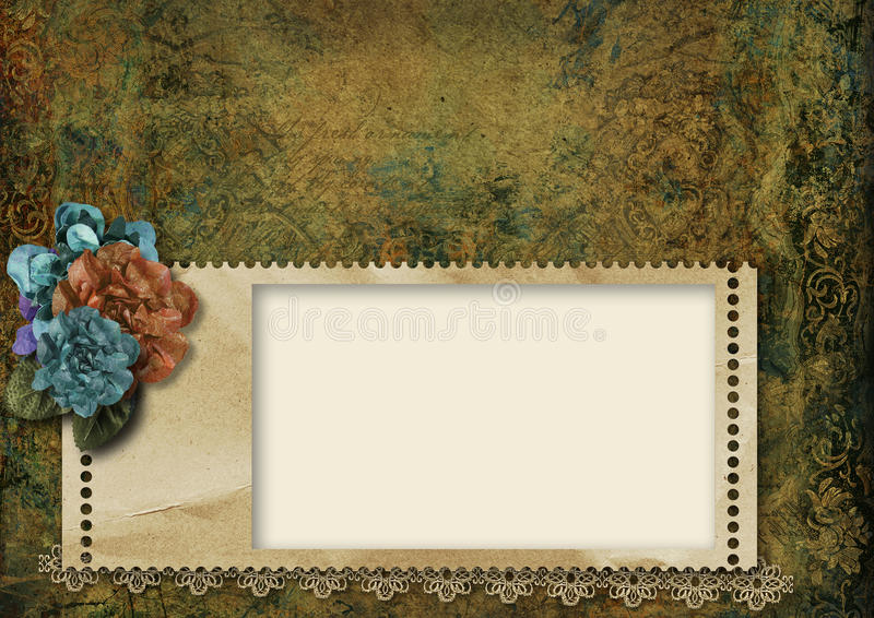 Vintage grungy background with frame and beautiful flowers royalty free stock images