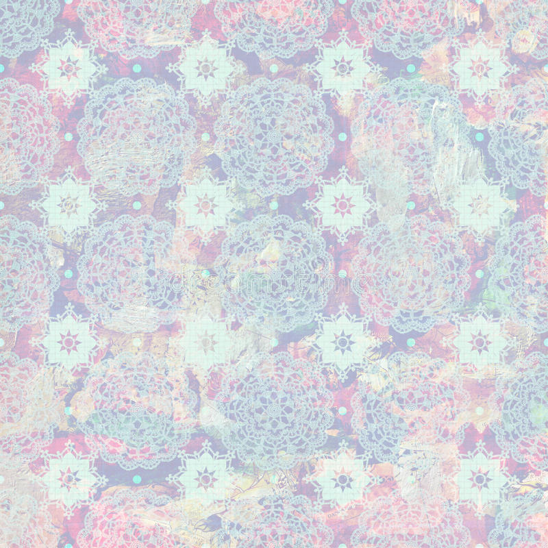Vintage grungy crochet pattern in soft pastel colors royalty free stock photos