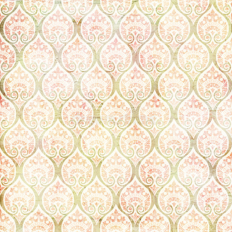 Vintage grungy damask repeating pattern. Vintage antique grungy damask repeating pattern - great for scrapbooking or craft stock photography