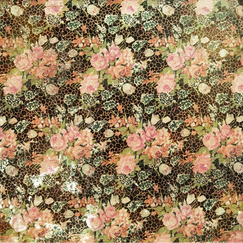 Vintage Grungy Distressed Floral Rose Wallpaper. In black and pastels stock images