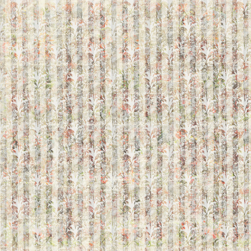 Vintage Grungy Floral Wallpaper Pattern with stripes stock images