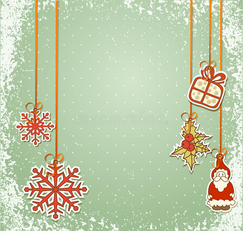 Vintage, grungy New Year, Christmas background vector illustration