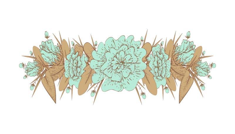 Vintage, guirnalda de la flor en un fondo blanco libre illustration