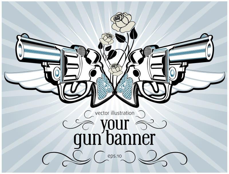 Vintage gun label royalty free stock image