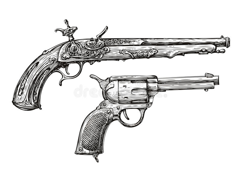Vintage Gun. Retro Pistol, Musket. Hand-drawn sketch of a Revolver, Weapon, Firearm. Vintage Gun. Retro Pistol, Musket. Hand drawn sketch of a Revolver, Weapon vector illustration