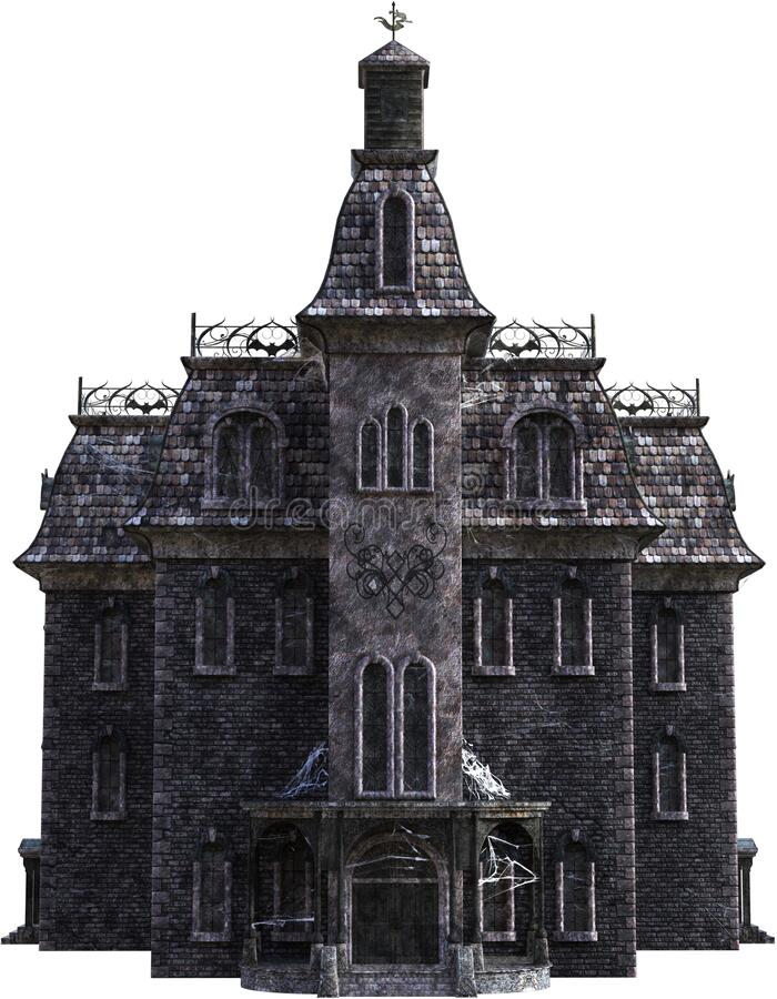 Vintage Halloween Haunted House, Isolated royalty free stock photo