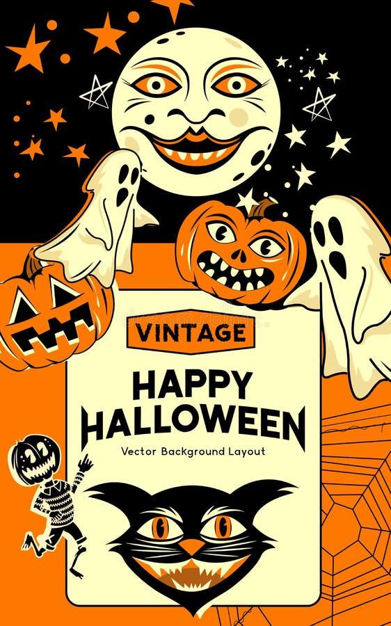 Vintage Halloween Party Background stock illustration