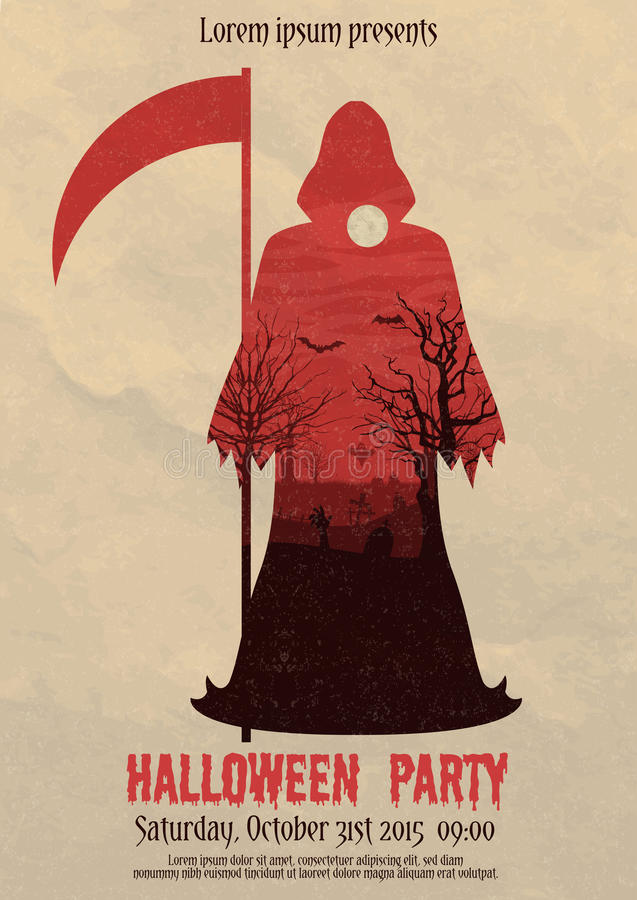 Vintage Halloween Party Death Poster Stock Vector - Illustration of ...