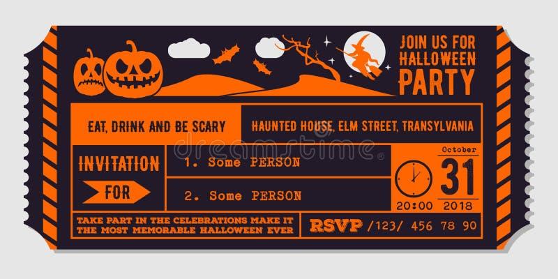 Vintage Halloween party invitation design template. Vector Illustration royalty free illustration