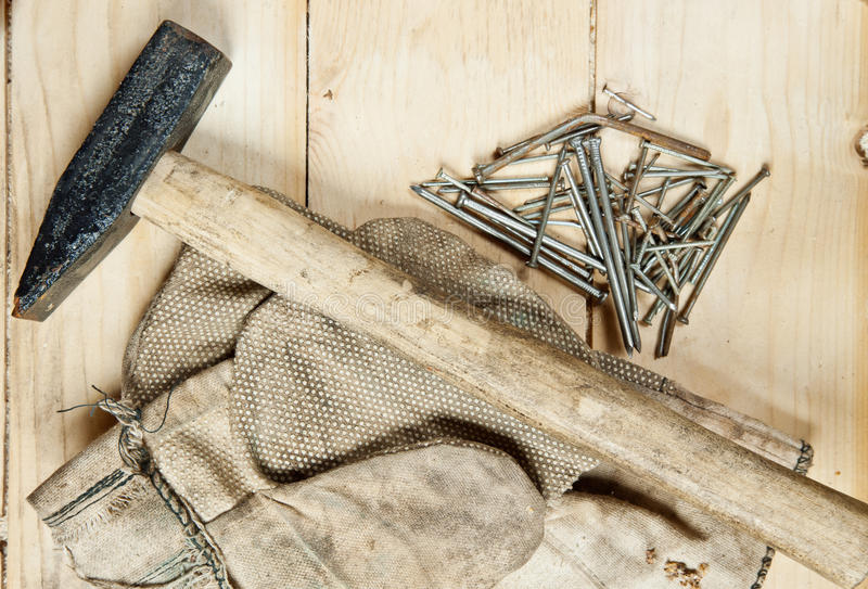 Download Vintage Hammer With Nails On Wood Background Stock Image - Image: 27956945