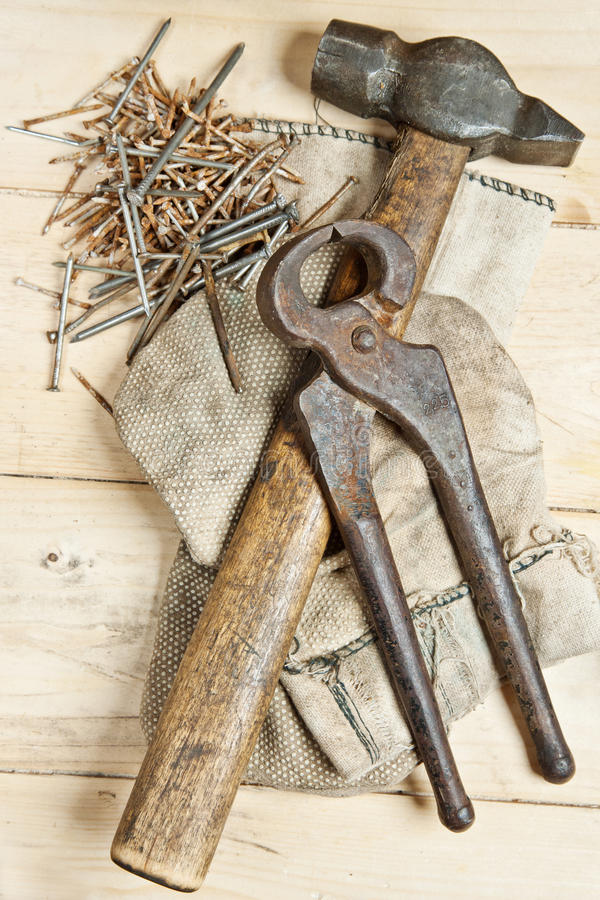 Download Vintage Hammer With Nails On Wood Background Stock Photography - Image: 27967602