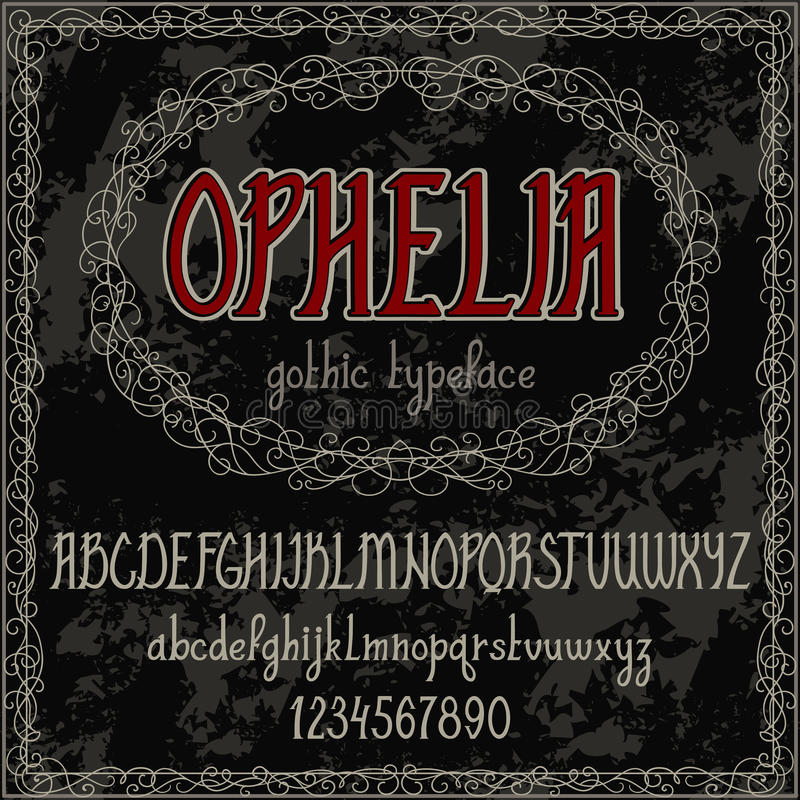 Vintage hand drawn alphabet. Handwritten font in gothic style. stock illustration