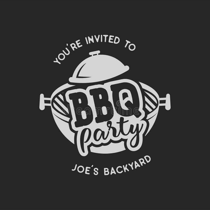 Vintage hand drawn bbq party, barbecue grill badge, label. Retro typography style. Butcher logo design with letterpress stock illustration