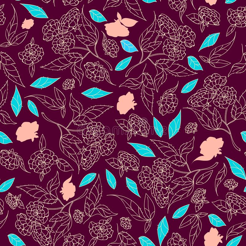 Vintage hand drawn beautiful flowers classic design with retro style background seamless pattern vector stock illustration