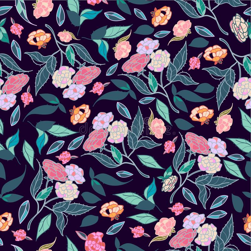 Vintage hand drawn beautiful flowers classic design with retro style background seamless pattern vector vector illustration