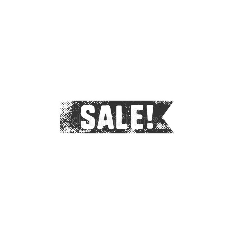 Vintage hand drawn black sale ribbon in retro letterpress style. Isolated on white background. Discount, special offer stock illustration