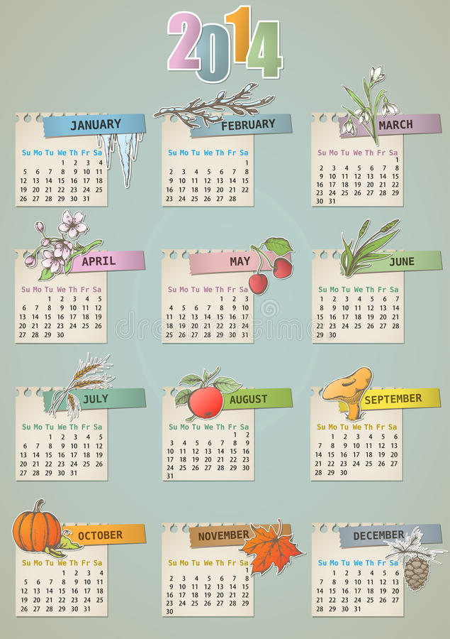 Download Vintage Hand Drawn Calendar Stock Vector - Illustration of autumn, summer: 32836085