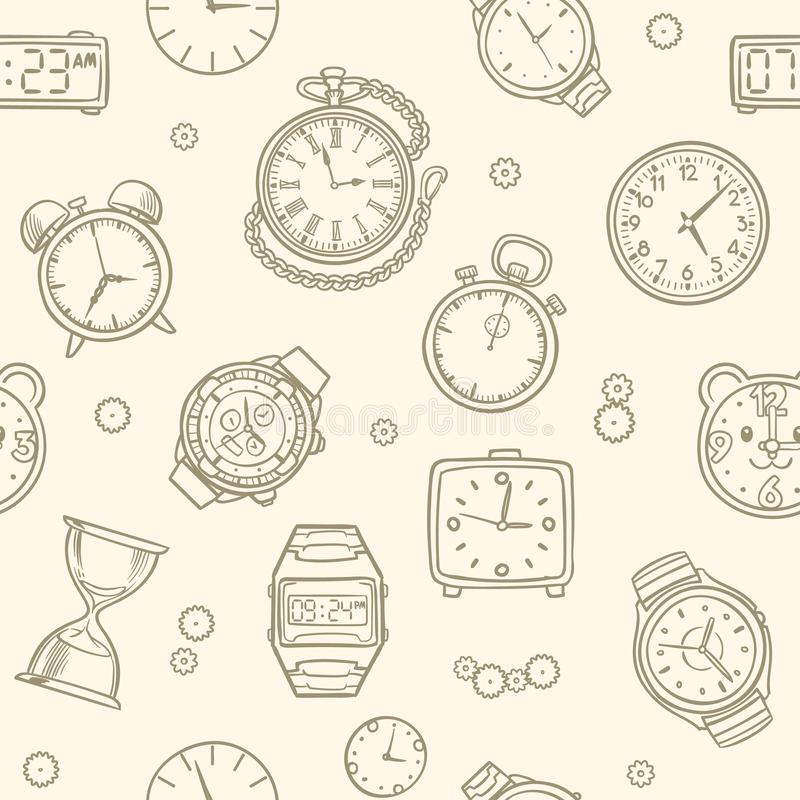 Vintage hand drawn clocks and watches. Time vector seamless pattern. Illustration of clock drawing, time seamless pattern royalty free illustration
