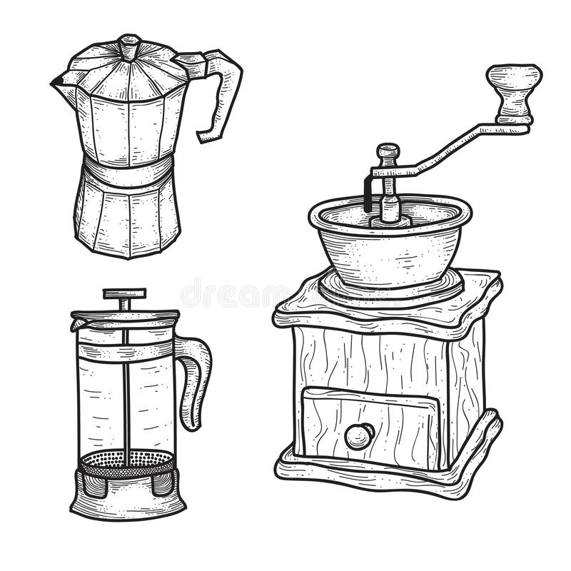 Vintage hand drawn coffee equipment vector illustration