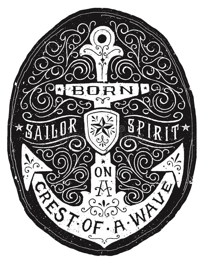 Vintage Hand Drawn Flourish Anchor Badge royalty free illustration