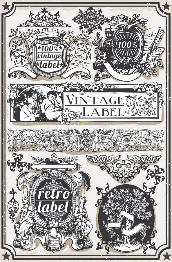 Vintage Hand Drawn Graphic Banners and Labels vector illustration