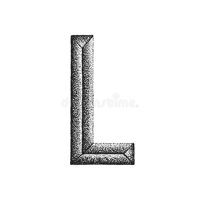 Vintage hand drawn letter. Vector black monochrome vintage ink hand drawn dot work retro tattoo style engraving volumetric letter L isolated white background royalty free illustration