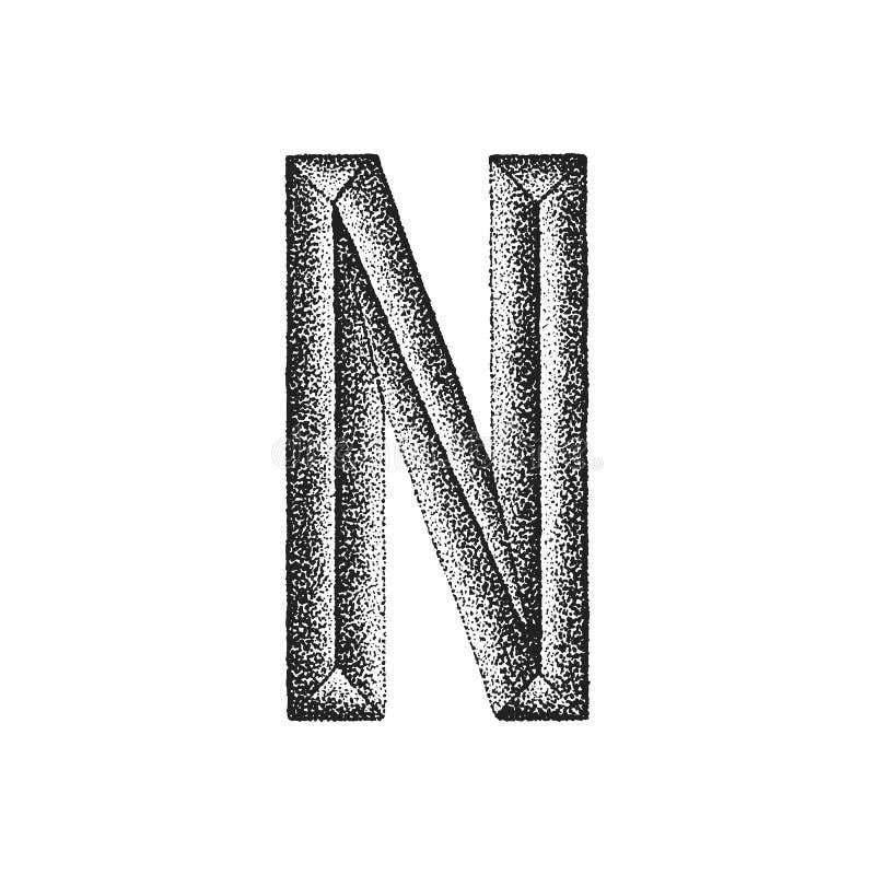 Vintage hand drawn letter. Vector black monochrome vintage ink hand drawn dot work retro tattoo style engraving volumetric letter N isolated white background vector illustration
