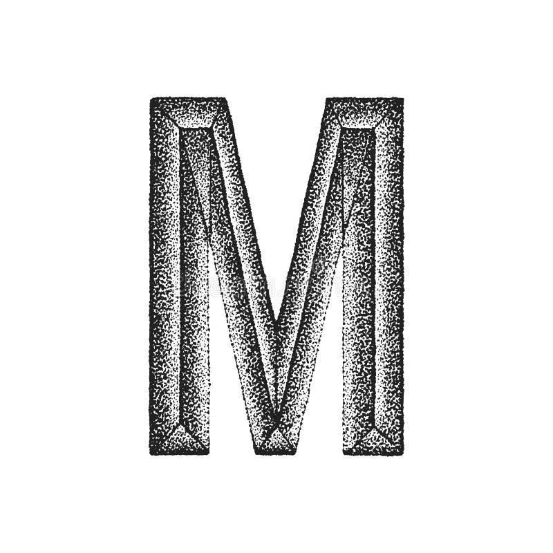 Vintage hand drawn letter. Vector black monochrome vintage ink hand drawn dot work retro tattoo style engraving volumetric letter U isolated white background royalty free illustration