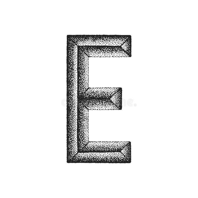 Vintage hand drawn letter. Vector black monochrome vintage ink hand drawn dot work retro tattoo style engraving volumetric letter U isolated white background stock illustration