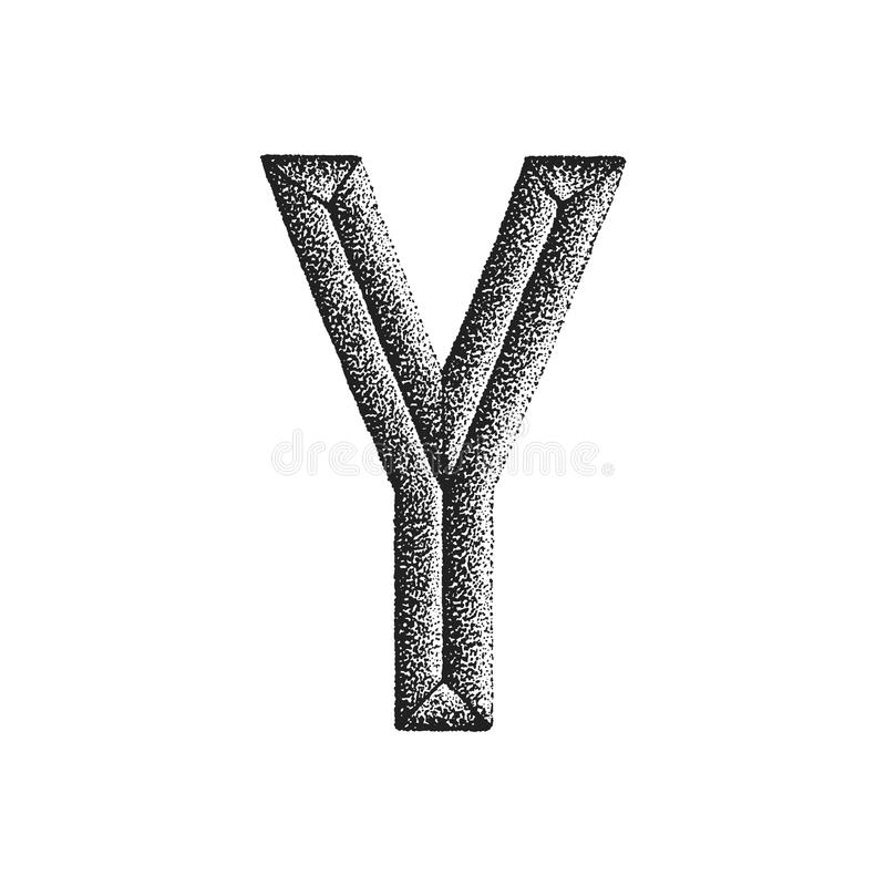 Vintage hand drawn letter. Vector black monochrome vintage ink hand drawn dot work retro tattoo style engraving volumetric letter Y isolated white background stock illustration
