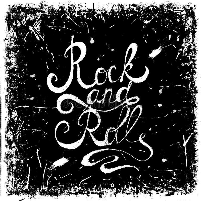Vintage hand drawn lettering rock and roll on grunge background. Retro vector illustration. Design, retro card, print, t-shirt, postcard vector illustration