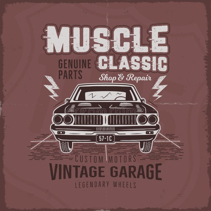 Vintage hand drawn muscle car t shirt design. Classic car poster with typography. Retro style poster with red grunge vector illustration