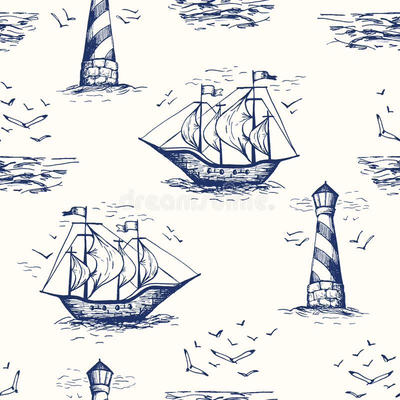 Vintage Hand-Drawn Nautical Toile De Jouy Vector Seamless Pattern with Lighthouse, Seagulls, Seaside Scenery and Ships. Monochrome Blue Marine Background. Sea royalty free illustration