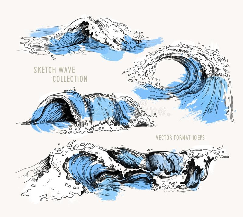Sea waves. Sketch ocean waves. Vintage hand drawn ocean tidal storm waves isolated with blue texture for surfing and stock illustration