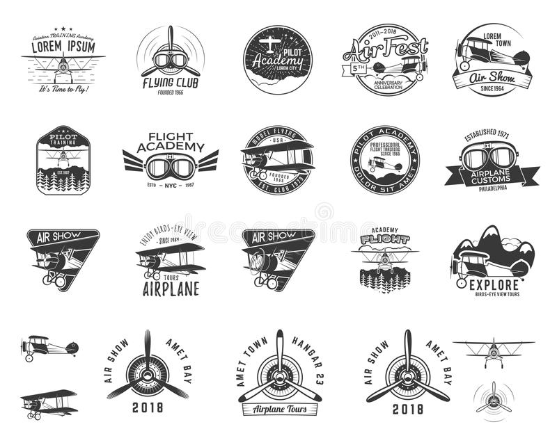 Vintage hand drawn old fly stamps. Travel or business airplane tour emblems. Biplane academy labels. Retro aerial badge. S isolated. Pilot school logo. Plane tee stock illustration