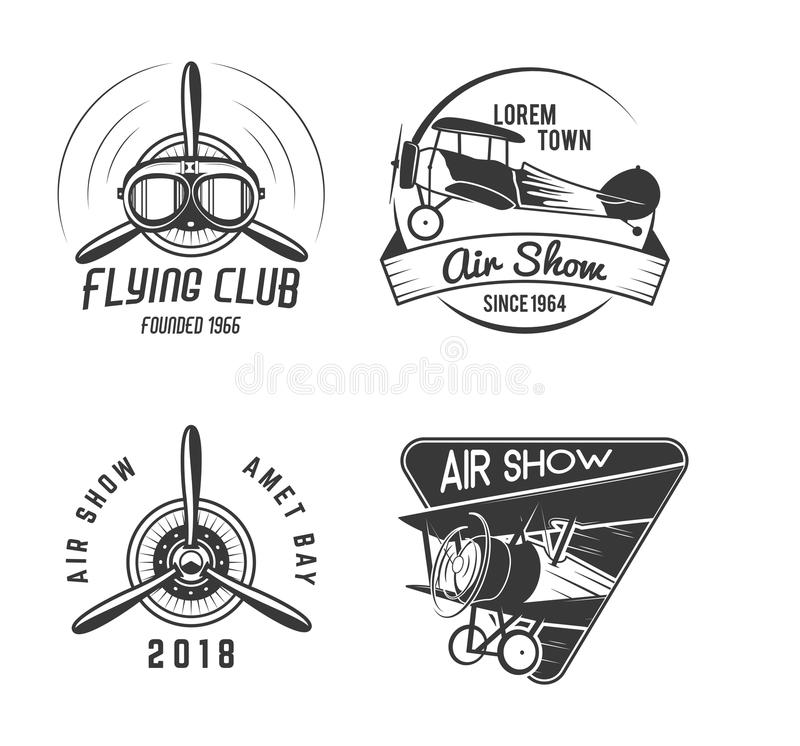 Vintage hand drawn old fly stamps. Travel or business airplane tour emblems. Biplane academy labels. Retro aerial badge. Isolated. Pilot school logos. Plane tee stock illustration