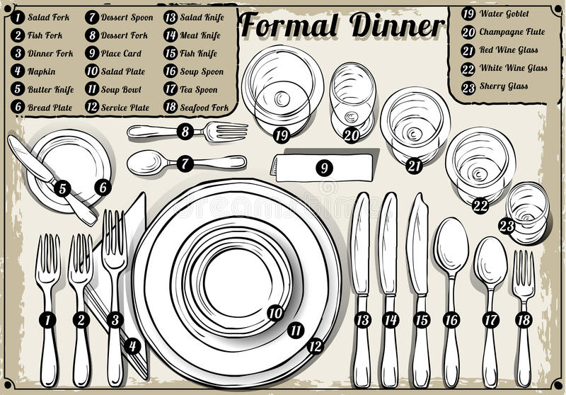 Vintage Hand Drawn Place Setting Formal Dinner Stock