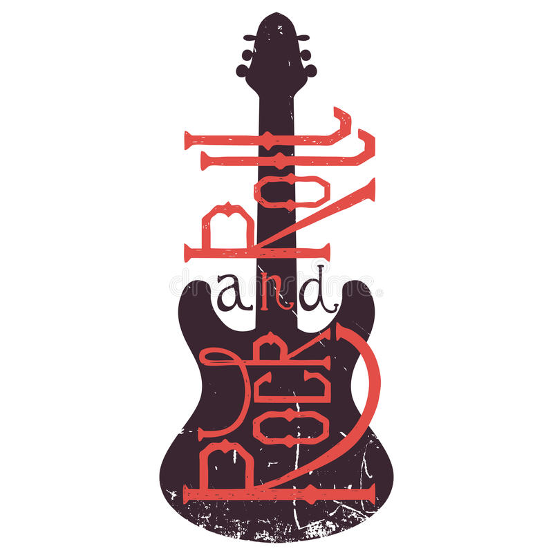 Vintage hand drawn poster with electric guitar and lettering rock and roll on grunge background. Retro vector illustration. Design, retro card, print, t-shirt stock illustration