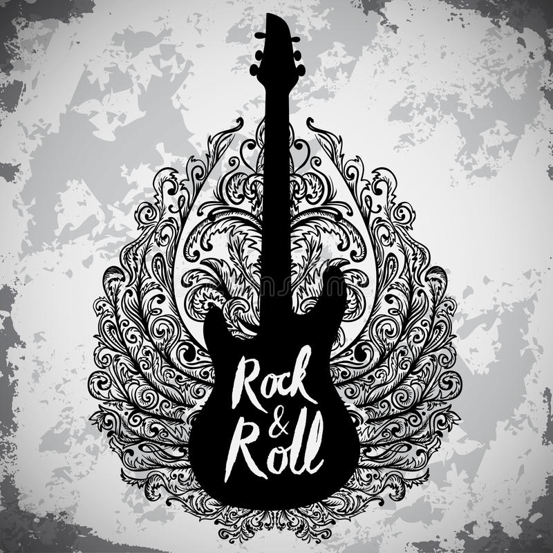 Vintage hand drawn poster with electric guitar, ornate wings and lettering rock and roll on grunge background. Retro vector illustration. Design, retro card vector illustration